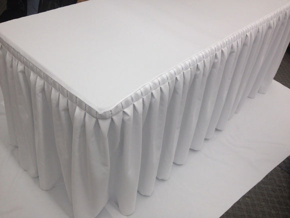 6' Ft. Fitted Table Skirt Cover W/ Top Topper Double Pleated Trade Show Dj White