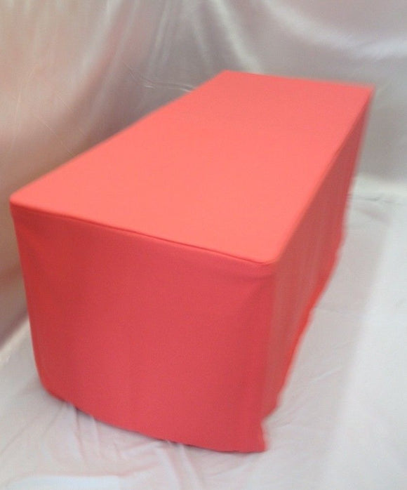 6' Ft. Fitted Polyester Tablecloth Trade Show Table Cover Coral Pink / Orange