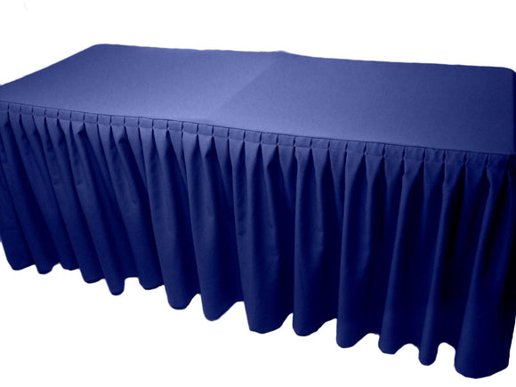 8' Fitted Polyester Double Pleated Table Skirting Cover W/top Topper 21 Colors