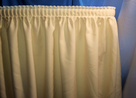 21' Ivory Polyester Pleated Table Skirt Skirting  Wedding Trade Shows