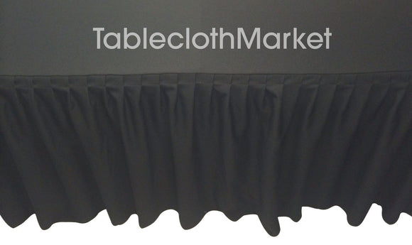 5' Ft. Fitted Table Skirting Cover W/ Top Topper Single Pleated Trade Show Black