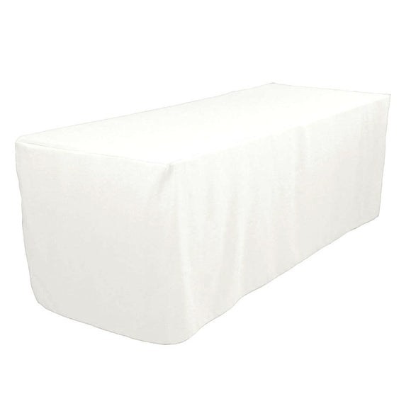 8' Ft. Fitted Polyester Tablecloth Trade Show Booths Weddings Table Cover  White