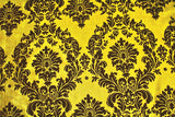 "Yellow Black Flocking Damask Taffeta Velvet Fabric 58"" Flocked Decor"""