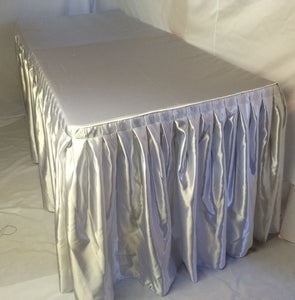 5' Satin Fitted Double Pleated Table Skirting Cover w/Top Topper ANY EVENT White""