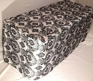 6' Ft. Fitted Black White Damask Flocked Taffeta Tablecloth Table Cover Wedding""