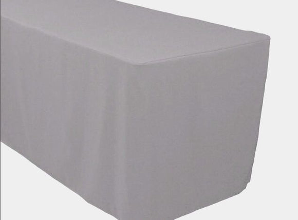4' Ft. Fitted Polyester Tablecloth Trade Show Booth Banquet Table Cover Silver