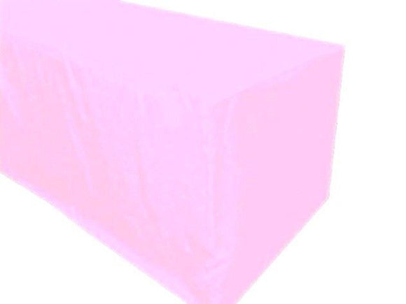 4' Ft. Fitted Polyester Tablecloth Wedding Banquet Event Table Cover Light Pink