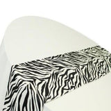 "12"" X 108""  Zebra Flocking Taffeta Table Runner Decor Black White Animal Print"""