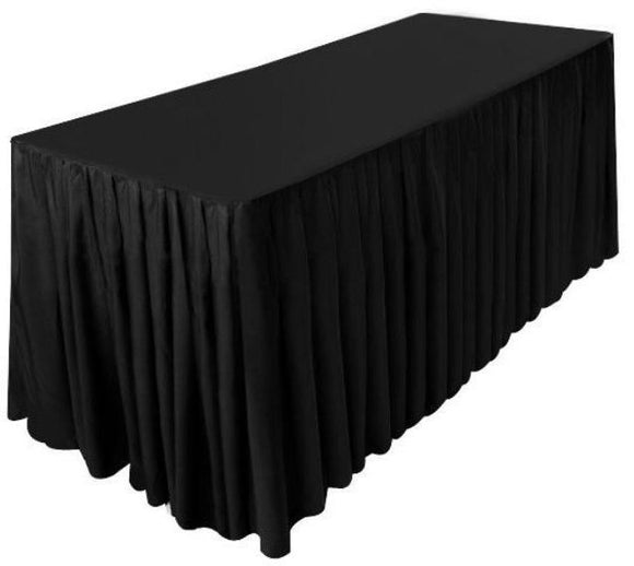 5' Ft. Fitted Polyester Double Pleated Table Skirting Cover W/top Topper   Black