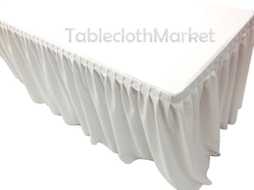 6' Ft. Fitted Table Skirt Cover W/ Top Topper Single Pleated Trade Show Dj White