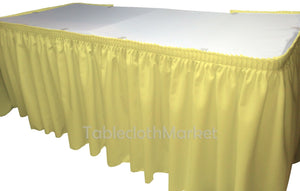 Polyester Pleated Table Set Skirt With Clips 17' Ft  + Clip + Topper Media Day""