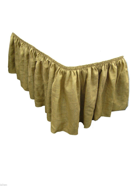 Burlap Table Skirt 17' ft. Skirting Wedding 100% Natural Jute pleated skirt