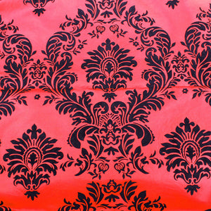 "5 Yards Red And Black Flocking Damask 15ft Taffeta Velvet Fabric 58""  Decor 3d"""