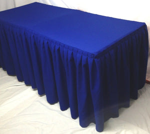 8' Fitted Polyester Double Pleated Table Skirting Cover W/top Topper  Royal Blue""