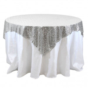 "Sequin Overlay 72"" × 72"" Sparkly Shiny Tablecloth Design 4 Colors Wedding Party"""