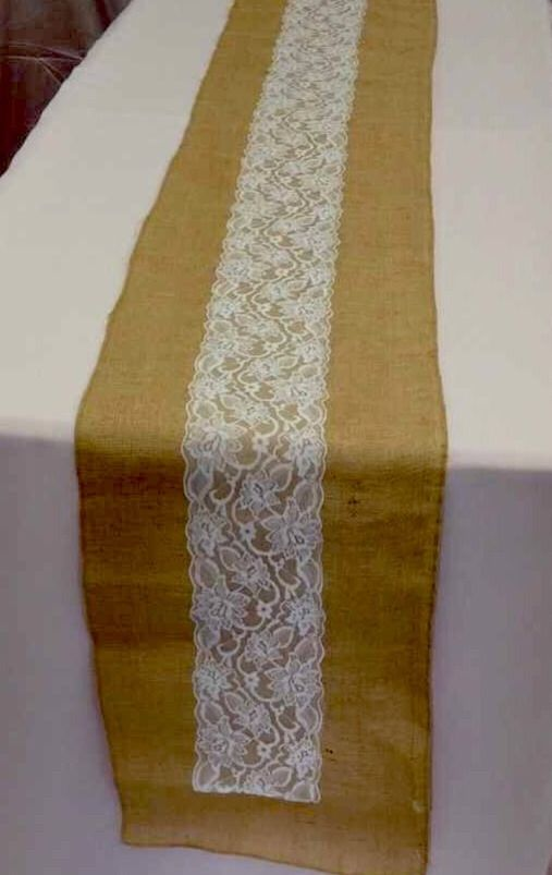 Shabby Rustic Burlap and Lace TABLE RUNNERS 14