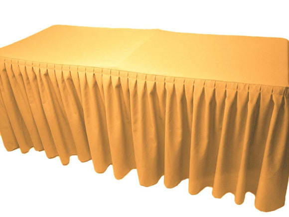 6' Fitted Polyester Double Pleated Table Skirting Cover W/top Topper 21 Colors