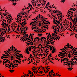 "15 Yards Red And Black Flocking Damask Taffeta Velvet  Fabric 58"" Flocked Decor"""