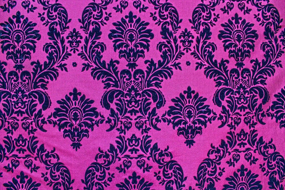 10 Yards Fuchsia Black Flocking Damask Taffeta Velvet  Fabric 58