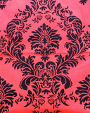 "Red And Black Flocking Damask Taffeta Velvet Fabric 58""  Decor 3d"""