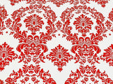 "25 Yards Red and White Flocking Damask Taffeta Velvet  Fabric 58"" Flocked Decor"""