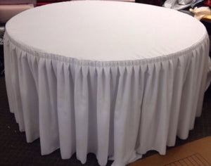 "60"" In. Round Table Skirt Cover Polyester W/ Top Topper Pleated Wedding White"""