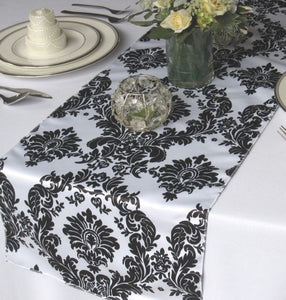 "20 Pack Flocked Taffeta Damask 12"" X 108"" Top Table Runner Black White Wedding"""