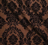 "25 Yards Brown And Black Flocking Damask Taffeta Velvet Fabric 58"" Flocked Decor"""