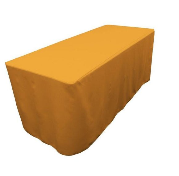 6' Ft. Fitted Polyester Tablecloth Wedding Trade Show Booth Dj Table Cover Gold