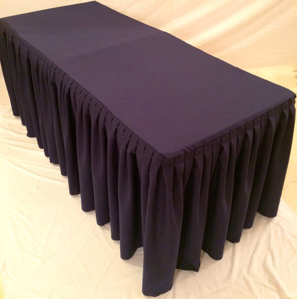 8' Fitted Polyester Double Pleated Table Skirt Cover w/Top Topper Wedding Purple