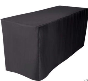 4' Ft. Fitted Polyester Table Cover Tablecloth Black Trade Shows 30 Inch Width""