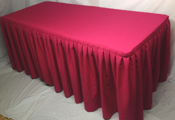 8' Ft. Fitted Polyester Double Pleated Table Skirt Cover W/top Topper Hot Pink