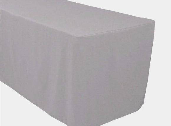 8' Ft. Fitted Polyester Tablecloth Trade Show Booth Banquet Table Cover Silver