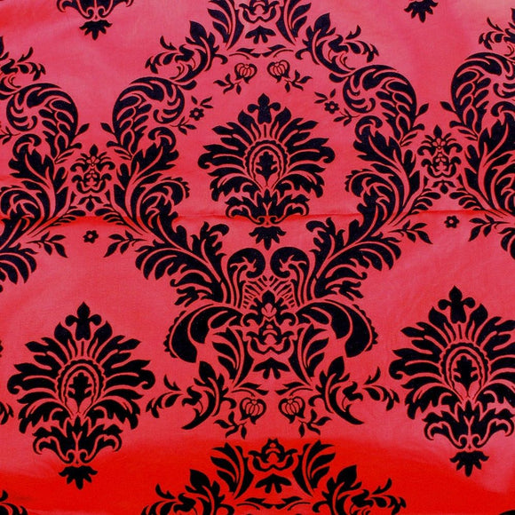 15 Yards Red And Black Flocking Damask Taffeta Velvet  Fabric 58