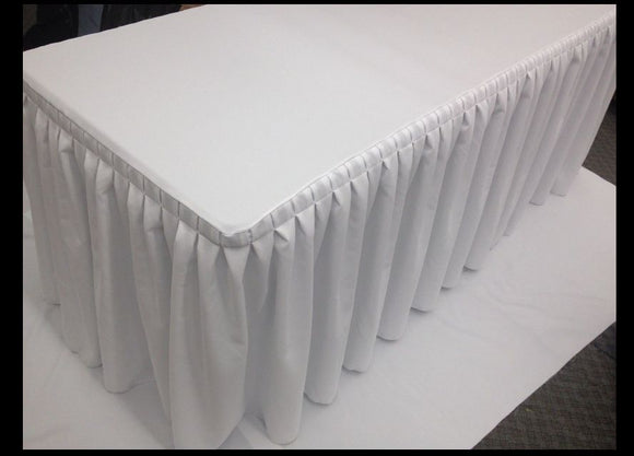 5' Fitted Polyester Double Pleated Table Skirting Cover W/top Topper 21 Colors