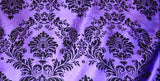 "25 Yards Purple Black Flocking Damask Taffeta Velvet Fabric 58"" Flocked Decor"""