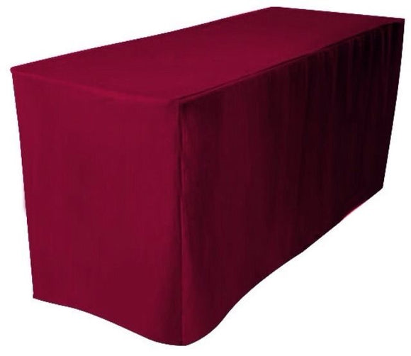 6' Ft. Fitted Polyester Tablecloth Wedding Trade Show Table Cover  Burgundy