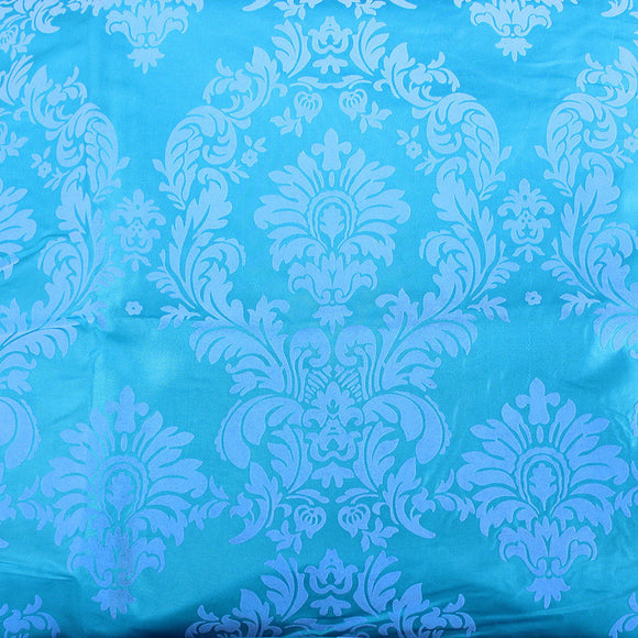 Aqua Blue Grey Flocking Damask Taffeta Velvet Fabric 58