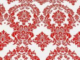 "20 Yards Red and White Flocking Damask Taffeta Velvet  Fabric 58"" Flocked Decor"""