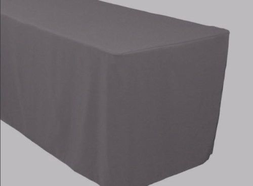8' Ft. Fitted Polyester Table Cover Trade Show Banquet Tablecloth Charcoal Grey
