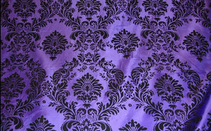 "5 Yards Purple Black Flocking Damask 15ft Taffeta Velvet Fabric 58"" Decor 3d"""