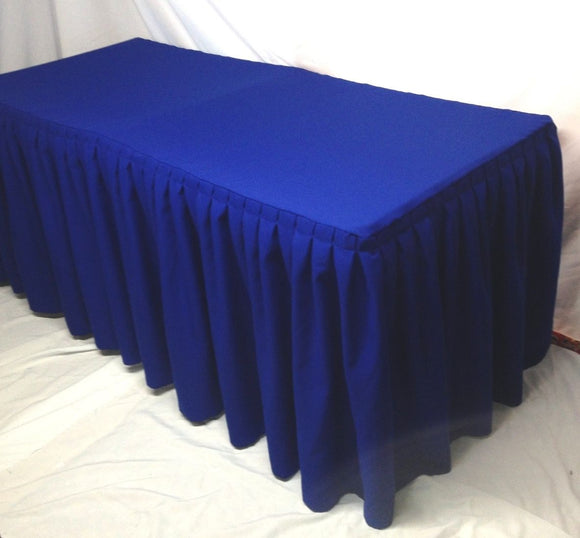 5' Ft. Fitted Polyester Double Pleated Table Skirt Cover W/top Topper Royal Blue