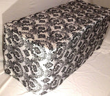8' Ft. Fitted Black White Damask Flocked Taffeta Tablecloth Table Cover Wedding""