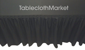 4' Ft. Fitted Table Skirting Cover W/ Top Topper Single Pleated Trade Show Black""