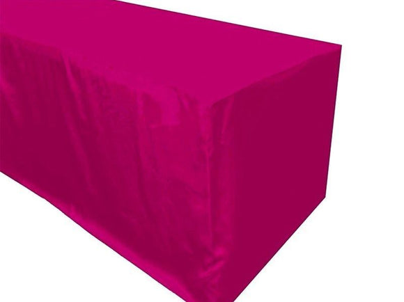 5' Ft. Fitted Polyester Table Cover Trade Show Booth Party Table Cloth Hot Pink