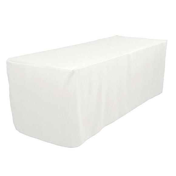 5' Ft. Fitted Polyester Table Cover Wedding Trade Show Booth Dj Tablecloth White