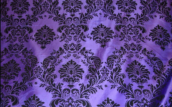 25 Yards Purple Black Flocking Damask Taffeta Velvet Fabric 58