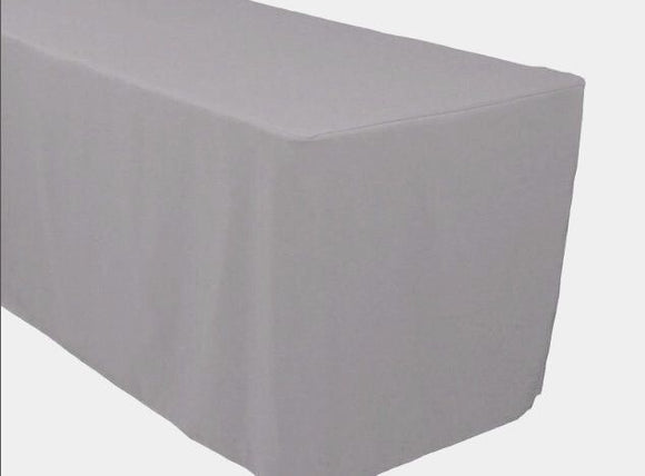 5' Ft. Fitted Polyester Table Cover Trade Show Booth Banquet Tablecloth Silver