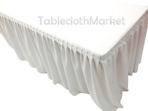 6' Ft. Fitted Table Skirt Cover W/ Top Topper Single Pleated Trade Show Dj White""
