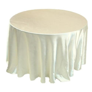 "132"" Inch Round Satin Tablecloth 21 Colors Table Cover Wedding Banquet Catering"""